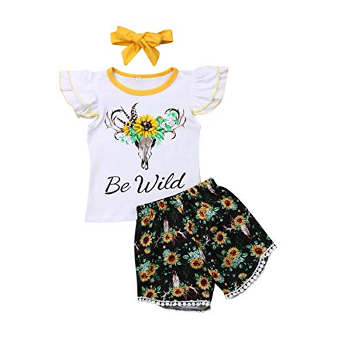 Toddler Baby Girl Summer Dress Tops+Tutu Pants 2PCS Outfits Clothes Sunflower or Feather Sunsuit Set (2-3 Years, Sunflower) ()