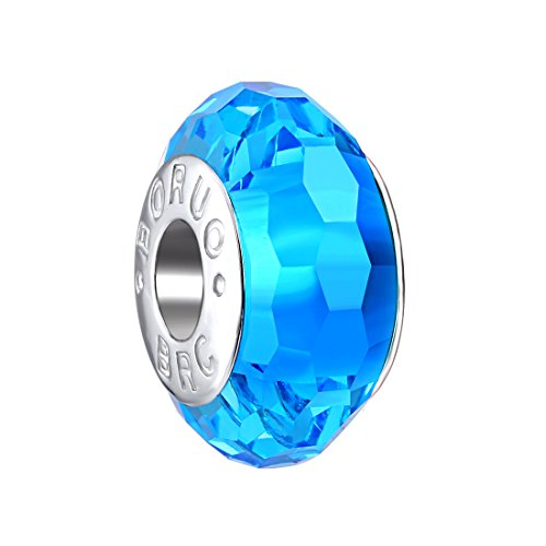 Boruo 925 Sterling Silver Czech Crystal Fascinating Facet Aquamarine Glass Charms Beads Spacers March Birthstone Solid Core Charm Fit All Bracelets.