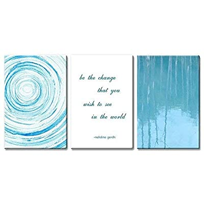3 Panel Abstract Blue Circles and Tree Reflection on Water with Inspirational Quotes Gallery 24 x36 x 3 Panels