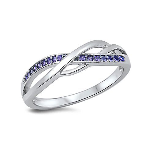 Cross Amethyst Sterling Silver Bands - 7