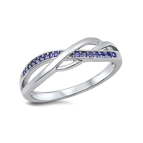 Half Eternity Crisscross Infinity Wedding Band Ring Round Simulated Purple Amethyst 925 Sterling Silver Size (Cross Amethyst Sterling Silver Bands)