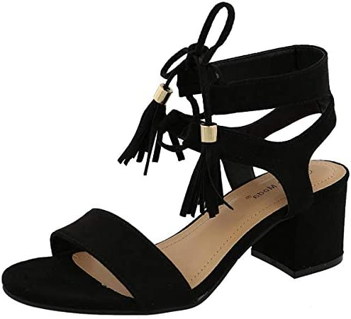 Top Moda Women's Tassel Stacked Block Heel Gladiator Sandal