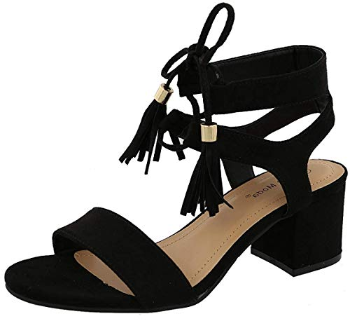 TOP Moda Women's Tassel Stacked Block Heel Gladiator Sandal, Black, Size 7.5 ()