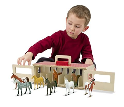 Melissa & Doug Take-Along Show-Horse Stable Play Set With Wooden Stable Box and 8 Toy Horses - Folding Horse Stable Wood