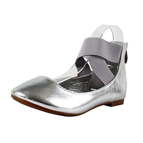 Crossing Ankle Closure Patent Round 29 Silver Flat Zip Women's Shoes Bella Marie Nubuck Stacy Toe Strap Dancing S8qSHgz7