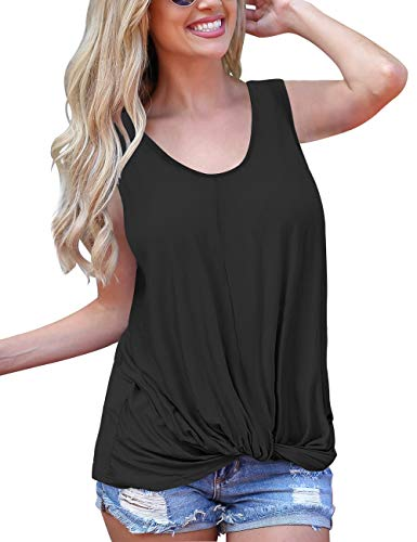 SMALNNIE Cute Shirts for Women Sleeveless Round Neck Twist Knot Casual Tops Blouse Black XL