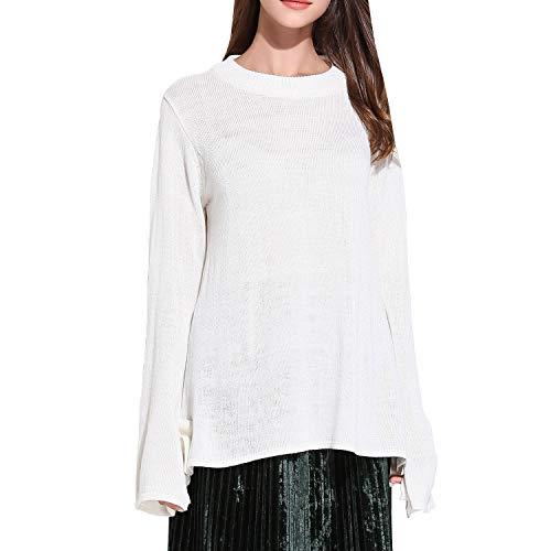 Femme Sweater Rond Valin Longue YJ031 Doux Vrac Col Blanc Tricot Manche en Pull PwgpgxA