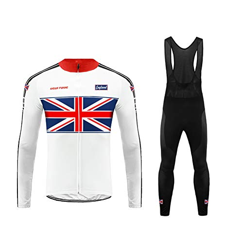 (Uglyfrog HUSChangXDS14 National Flag Pattern Design Mens Classic/Basic Cycling Jersey Winter Thermal Bike Top + Cycling Bib Tights Set Bicycle Equipment-Two Pieces)