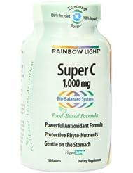 润泊莱Rainbow Light 1,000 mg纯天然超级维生素C片120粒SS后$11.59