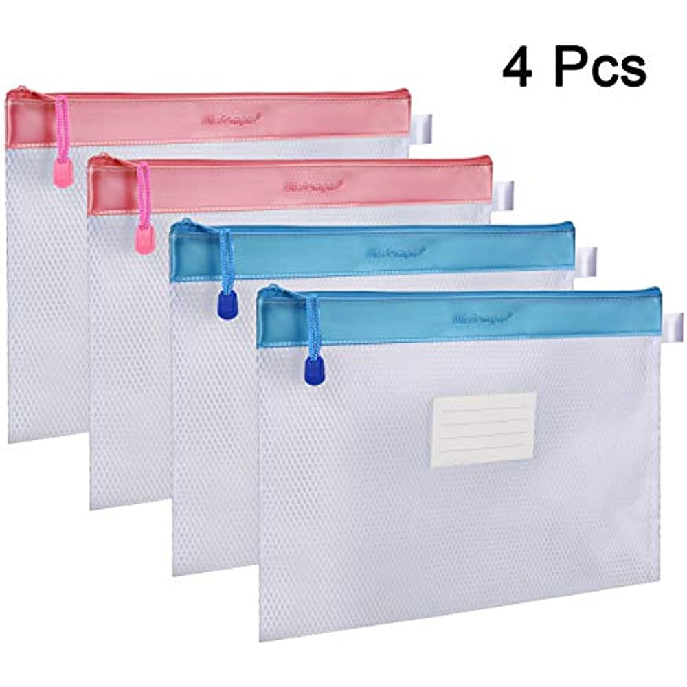 Zipper File Bag, 4 Packs Letter Size Receipt Organizer