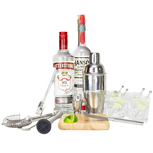 Atterstone 17-Piece Premium Travel Cocktail Set, Portable Bar-Ware Box Kit for Bartenders and Mixologists, Complete Bar Tool Accessories Kit for Hosting Serving and Entertaining by Atterstone (Image #3)