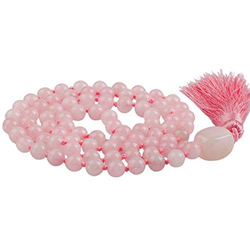 (SUNYIK Rose Quartz Wrap Bracelet,Beaded Necklace Tibetan Buddhist Prayer Beads)