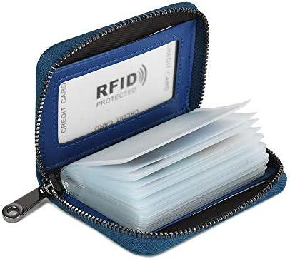 Lacheln RFID Blocking Credit Card Organizer Wallet Genuine Leather Zipper Security Travel Small ...