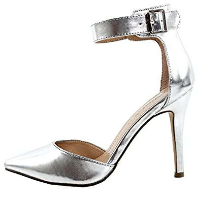 Breckelle's Women's Faux Leather Pointed Toe Ankle Strap High Heel Stiletto Pumps Silver 8