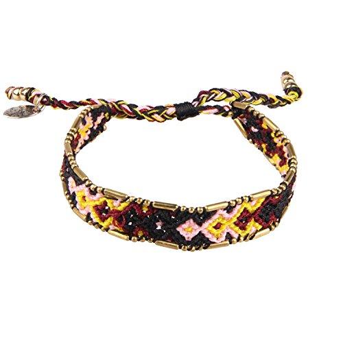 Black/Pink/Yellow Boho Handmade Woven Braided Friendship Bracelet Wristband