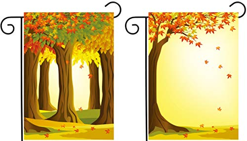 (ShineSnow 2 Pack Forest Autumn Red Tree Maple Fall Leaves Sunlight Seasonal Garden Yard Flag 12