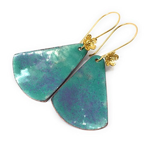 Curved Triangle Sea Green Speckled Lilac Gold Filled Earrings (Triangle Sea)