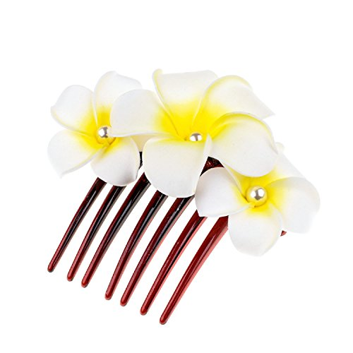 Accesyes Plumeria Hair Clips Hawaii Hairpin Bobby Pin Flower Foam Hair Clip Plumeria Rubra Flower Headpiece Accessory Hair Combs (White) (Plumeria Hair Comb)