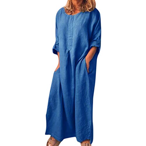 Plus Size Long Dress for Womens,Line Solid O Neck Summer Home Casual Maxi Dress with Pocket Blue