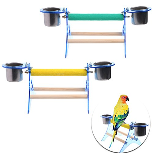 - Qupida Parrot Perch Stand Platform Rough Surface, Table Top Stand Wooden Triangular Toy With Two Feeding Cups for Bird Cage (1Pcs, Random Color)