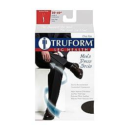 Truform Men\'s Knee High 30-40 mmHg Compression Dress Socks, Black, Large