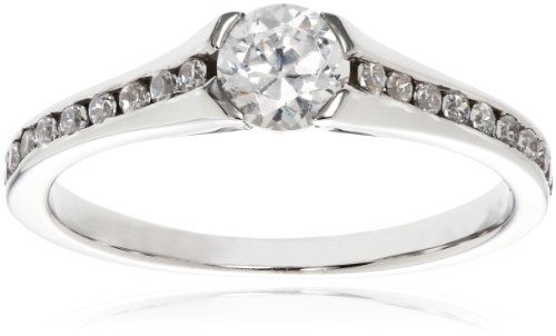 14k White Gold .25 ct Round Center Diamond Engagement Ring (1/2 cttw, H-I Color, I1-I2 Clarity), Size 7