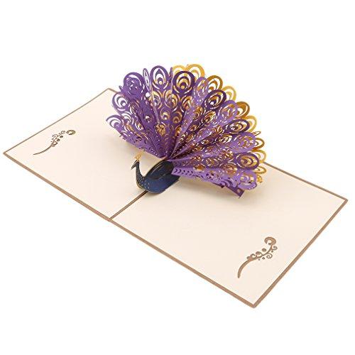 SONGLIN Peacock Pop up Birthday Card for Women Men Kids Day Card &Envelopes Handmade 3D Anniversary Wedding Graduation Cards (Purple) ()