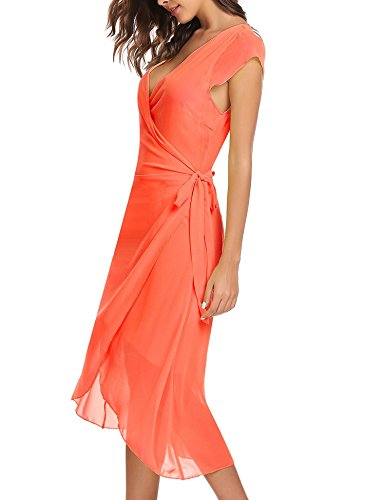 Tie ANGVNS A Cap Self Ruffle Women's Orange V Neck Wrap Dress Summer Red line Chiffon Sleeve AttpwrHq