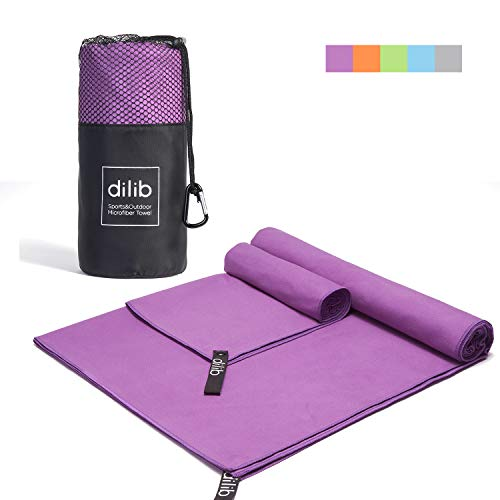 dilib 2 Pack Microfiber Towel Set, Quick Dry Sports&Travel&Beach Towels - Ultra Compact, Antimicrobial, Super Absorbent,Fast Drying - Perfect for Camping, Gym, Swimming, Beach, Backpacking(Purple)