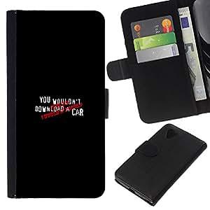 iBinBang / Flip Funda de Cuero Case Cover - Usted no Descargar A Car - LG Nexus 5 D820 D821