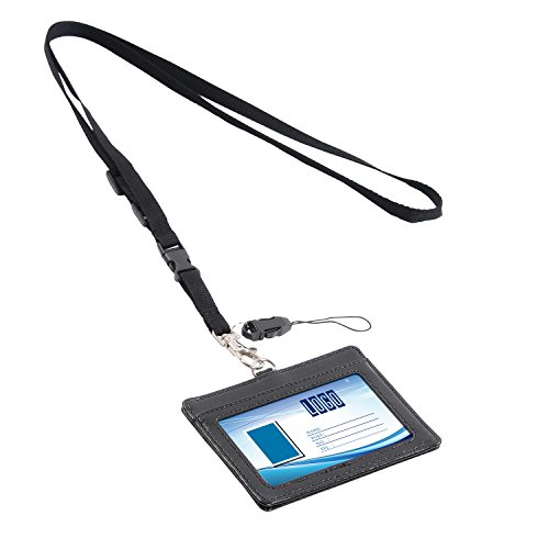 rizontal Style PU Leather ID Badge Holder with 1 ID Window and 1 Card Slot and 1 piece 23