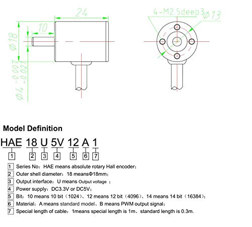 CALT HAE18 14 Bit 16384 Resolution Hall Magnetic Angle Rotary Encoder SSI Absolute Type (5V 14bit) by Calt (Image #3)