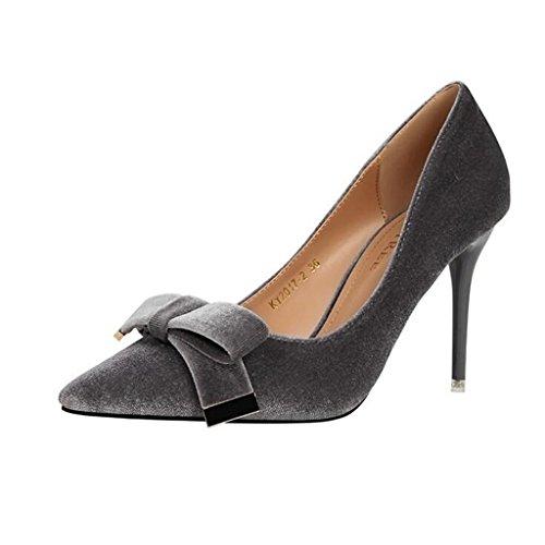Flacher Grau Elegante Baotou Mode Sexy High CJC Einfache Sandalen Dünne Fliege Hochhackige Heels Mund High Heels x8zqqZw