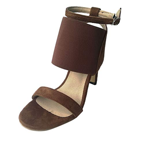 - Women Fashion One Band Heeled Sandals Elastic Band Slingback Open Toe High Stiletto Pumps by Lowprofile Brown