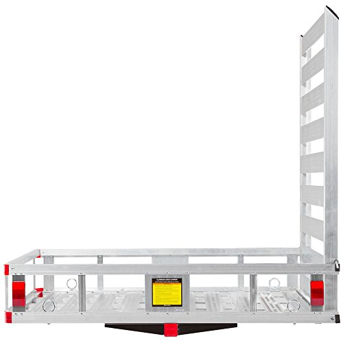 Silver Spring WCC-500A-U Metallic Aluminum Hitch Cargo Carrier Utility Basket with Loading Ramp