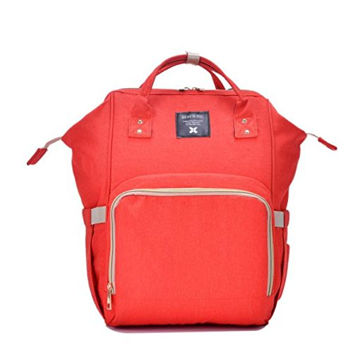 Price comparison product image RomWell Diaper Bag Mummy Backpack for Baby Caremulti-funtion waterproof travel backpack Large Capacity stylish and durable,  red (red 02)