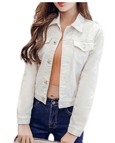 Di Donne Per Eku Jeans Ritagliate Giacca Maniche Donne Le Delle Pulsante Brevi Bianche Giacche Jeans Lunghe Anteriori vxCqOX