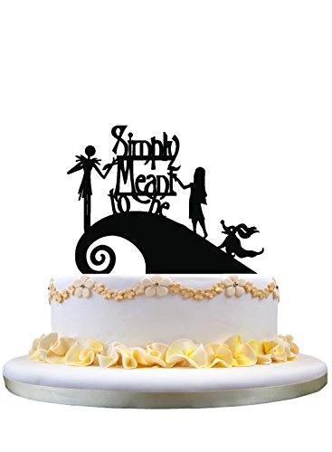 Jack and Sally Simply Meant To Be Wedding Cake Topper,Jack and Sally cake topper]()