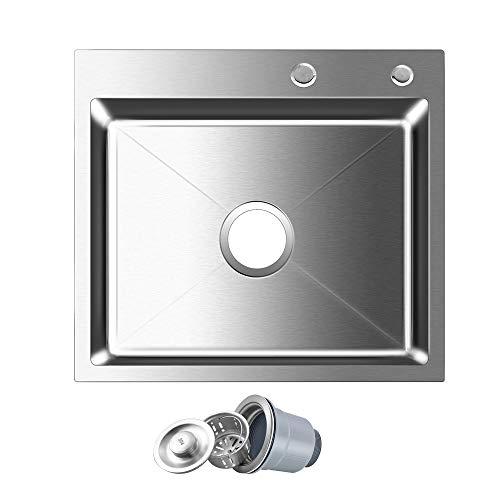 "ROVOGO 18 Gauge 304 Stainless Steel Single Bowl Kitchen Sink, Drop-in Topmount 2-Hole Noise-Absorption Kitchen Sink with Drain Strainer, 21.6""L x 17.7""W x 8.6""D"