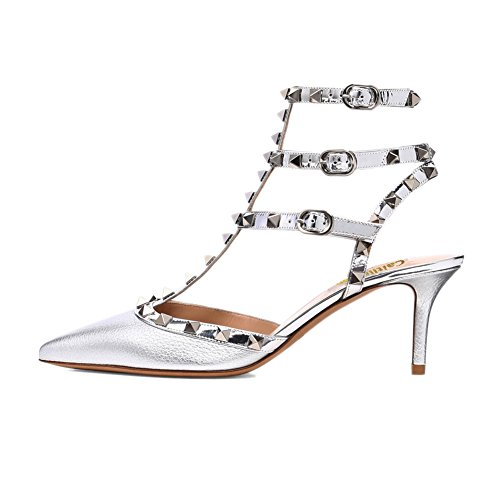 Studs con con Silver Silver Slingback Sandali Kitten Strap Dress a Punta Donna Pattern Cinturino Silver Stud Punta Heel Pan Borchie Caitlin x8ZOY
