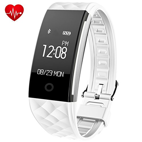 Fitness Tracker - Juboury Heart Rate Activity Tracker Touch Screen Wearable Pedometer Bluetooth Smart Wristand with Sleep Monitor - Steps Counter - Calories Track for Android and IOS Smart Phones(White)