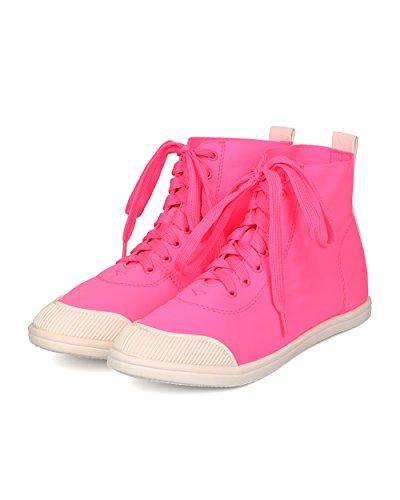 Liliana Kvinnor Elastan Hög Top Sneaker - Casual, Skola, Street Fashion - Snörning Sneaker - Ge01 Av Pink