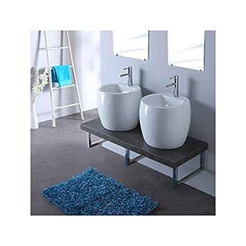 Meuble de salle bain gris avec double vasques blanche design ...