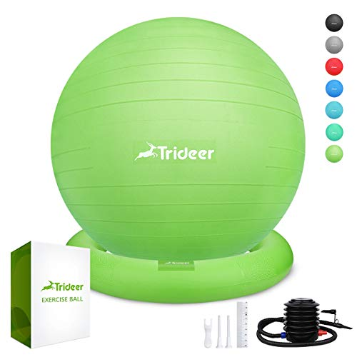 (Trideer Ball Chair - Exercise Stability Yoga Ball with Base for Home and Office Desk, Ball Seat, Flexible Seating with Ring & Pump, Improves Balance, Back Pain, Core Strength & Posture(Ball with Ring )