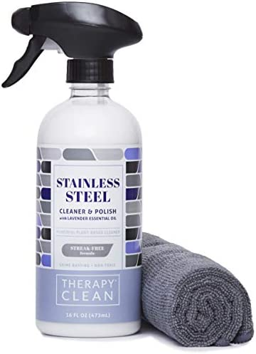 Therapy Stainless Steel Cleaner & Polish - 16 oz. (Microfiber Cloth) - Non-Toxic, Removes Fingerprints, Water Marks and Stains from Appliances - Works on Refrigerators, Dishwashers, Ovens, and Grills
