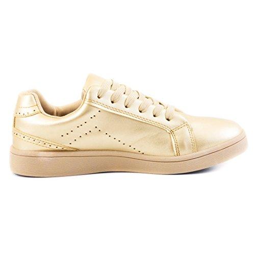 Marimo Super Trendige Vollfarbige Color Damen Schnür Sneaker in Verschiedenen Farben X-Gold