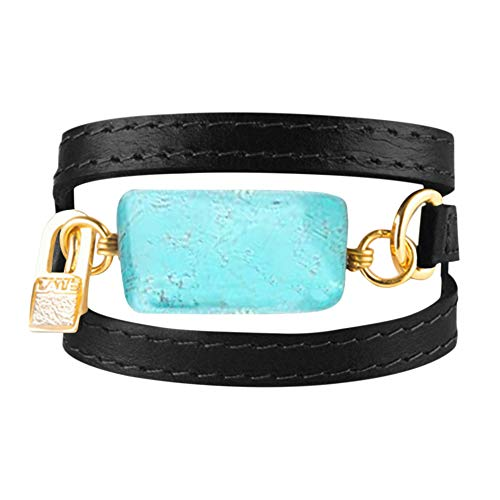 LALÉ Woman wrap Genuine Leather and semiprecious Stone Bracelet | Twists Three Times Around The Wrist | Ironwork Plated in Gold Buckle | Adjustable Size | Handmade Jewelry (Black Leather, 6.5)