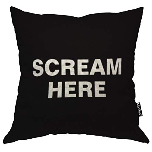 (Moslion Throw Pillow Cover Scream Here 18x18 Inch Black White Phrase Square Pillow Case Cushion Cover for Home Car Decorative Cotton Linen)