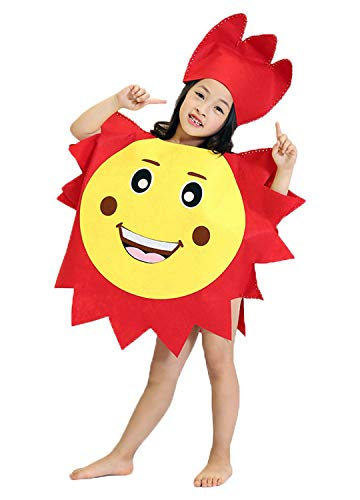 La moriposa Unisex Kids Halloween Sun Cloud Moon DIY Costume Dress Set Costume Suit with Hat(Sun)