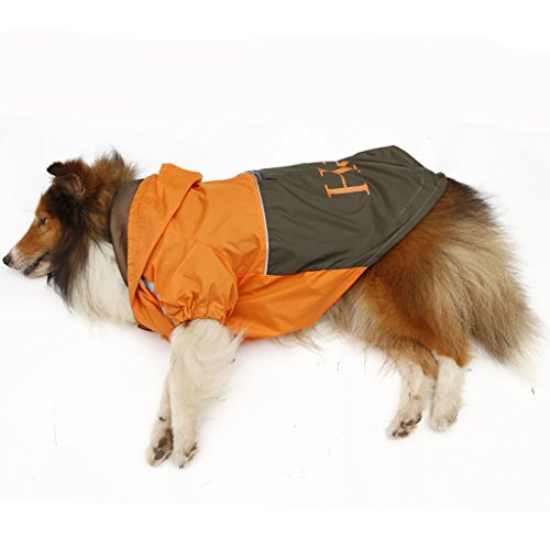Chubasquero Chaqueta Abrigo Impermeable para Mascotas Perro (L, Naranja Con Café Oscuro)